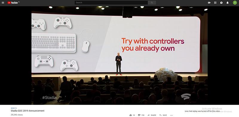 GDCでのStadiaの発表の様子