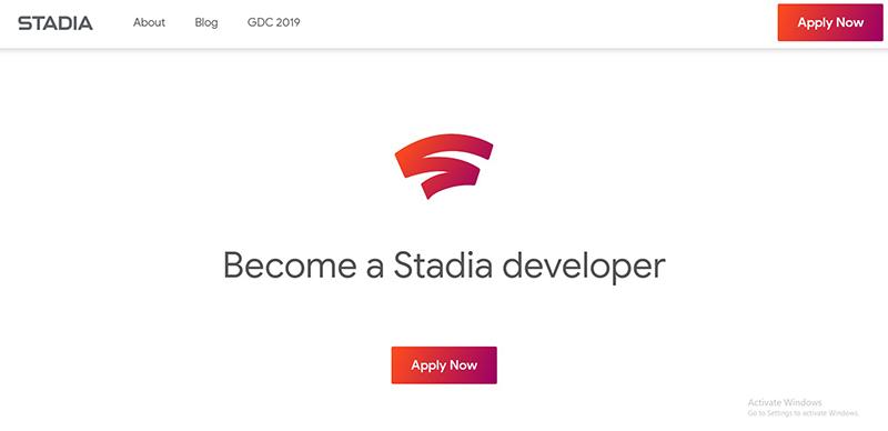 Stadiaのデベロッパー向けページ