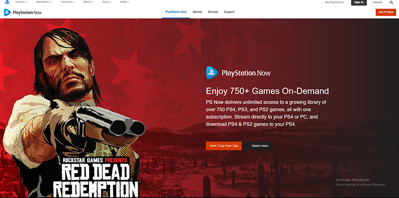 Playstation NowのWebサイト