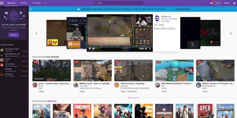 ゲームのライブストリーミングサイトTwitchの様子
