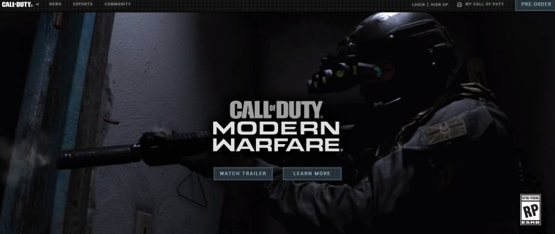 Call of DutyのWebサイト