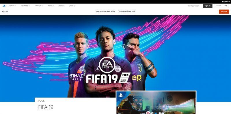 FIFA19のWebサイト