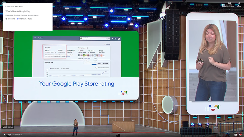 Google Playの新評価システムの発表(2019年Google I/O conferenceにて)