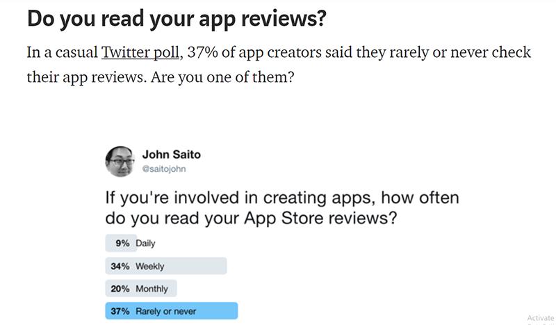 アプリデベロッパーがアプリレビューを読む頻度(Dropbox Designより)