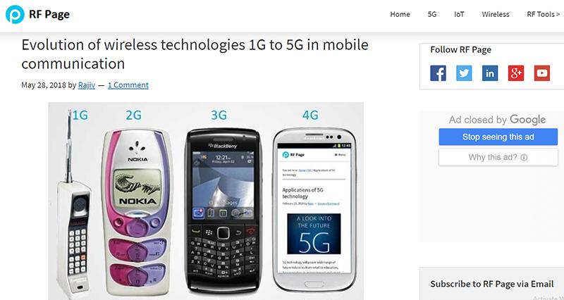 1~4Gでの携帯電話の主なデザイン(RF Pageより)