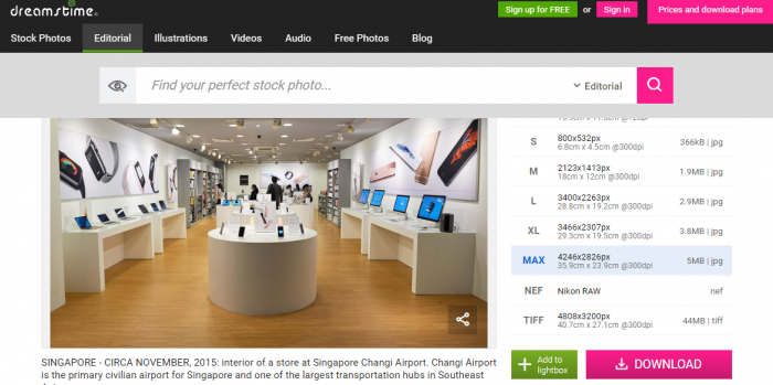 最新のデバイスが陳列されているシンガポールのデバイスショップ(dreamstimeより)